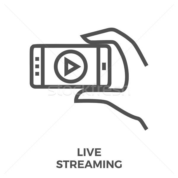 Vivere in streaming icona sottile line vettore Foto d'archivio © smoki