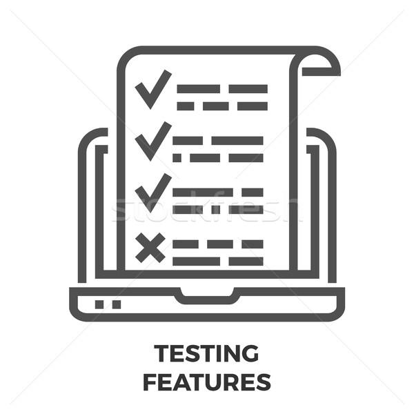 Tesztelés tulajdonságok vonal ikon vékony vektor Stock fotó © smoki