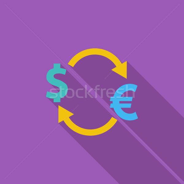 Währung Austausch Symbol Vektor lange Schatten Stock foto © smoki