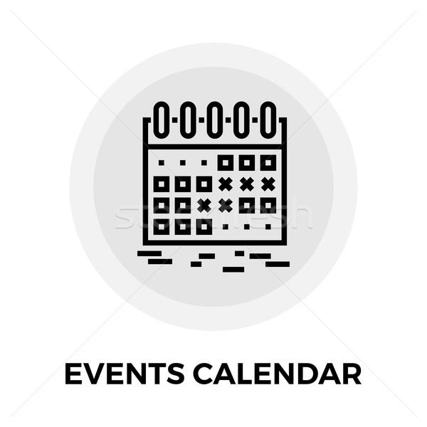 Stock fotó: Események · naptár · vonal · ikon · vektor · izolált
