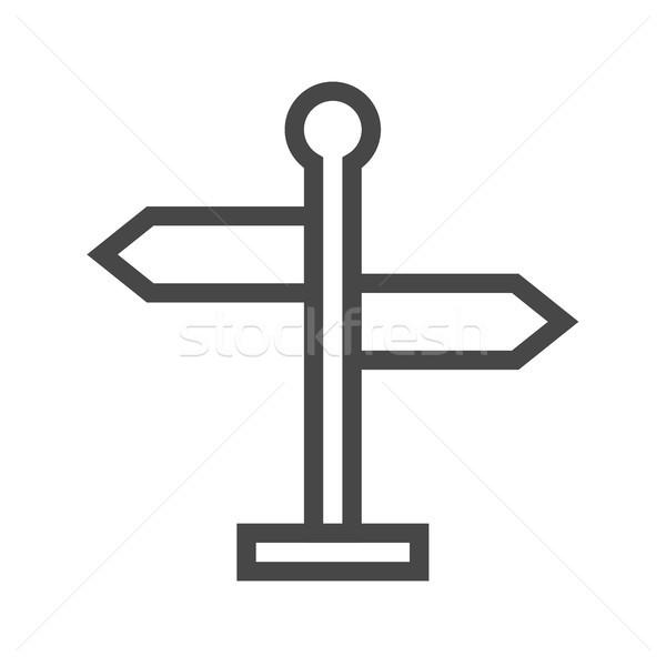 Foto stock: Poste · de · sinalização · fino · linha · vetor · ícone · isolado
