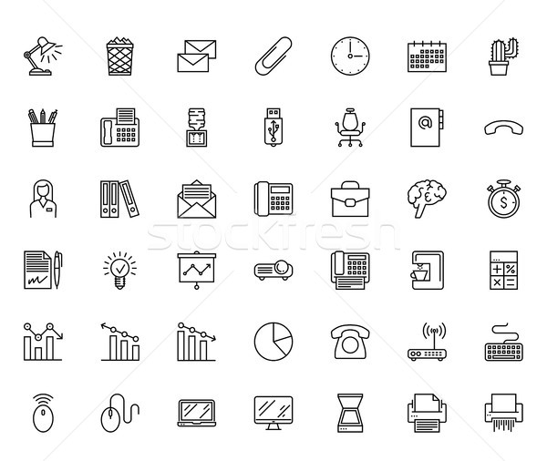 Office line icons Stock photo © smoki