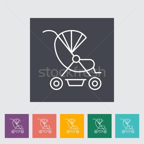 Kinderwagen icon dun lijn vector Stockfoto © smoki