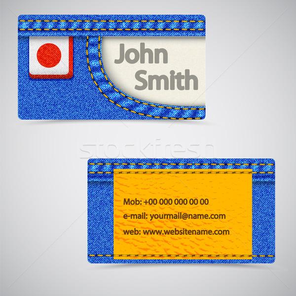 Stockfoto: Jeans · visitekaartje · vector · abstract · business