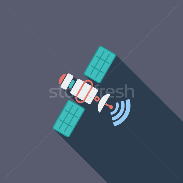 Satelliet icon vector lang schaduw web Stockfoto © smoki