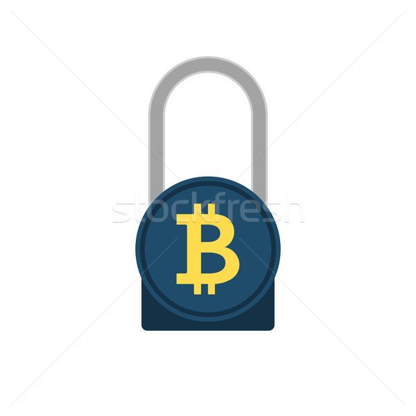 Bitcoin kódolt vektor ikon lakat izolált Stock fotó © smoki