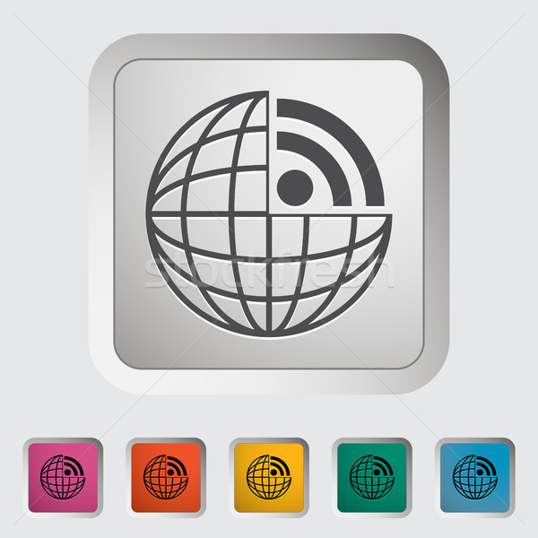 Rss icon computer wereldbol aarde kunst Stockfoto © smoki