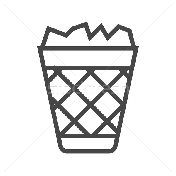 мусор тонкий линия вектора икона Сток-фото © smoki