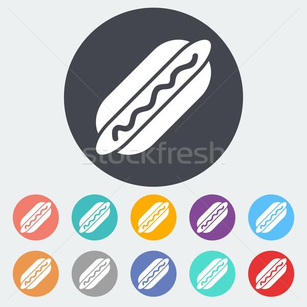 Hot dog icon cirkel voedsel ontwerp teken Stockfoto © smoki