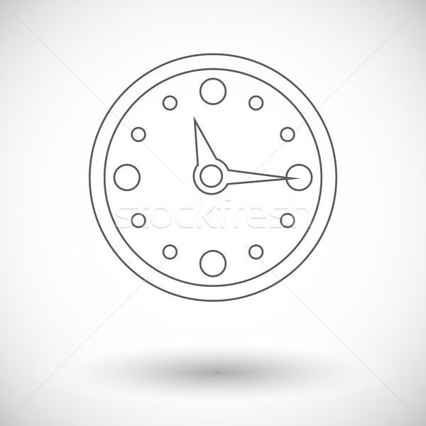 Saat Ikon Beyaz Iş Imzalamak Boyama Vektör Ilüstrasyonu