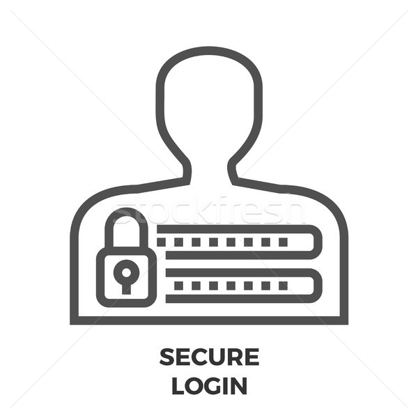 Proteger login linha ícone fino vetor Foto stock © smoki