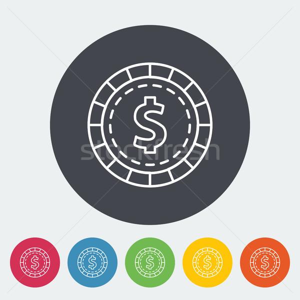Jogos de azar batatas fritas ícone círculo botão dinheiro Foto stock © smoki