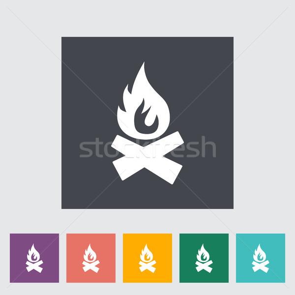 Máglya ikon gomb tűz természet felirat Stock fotó © smoki