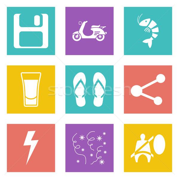 Renk simgeler web tasarım ayarlamak hareketli uygulamaları Stok fotoğraf © smoki
