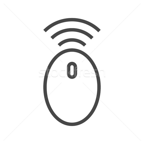 Kablosuz bilgisayar fare hat ikon ince vektör Stok fotoğraf © smoki