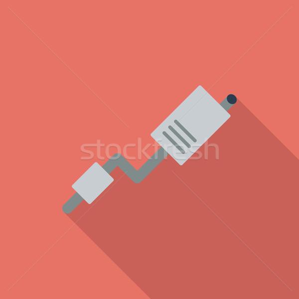 Egzoz boru ikon vektör uzun gölge Stok fotoğraf © smoki