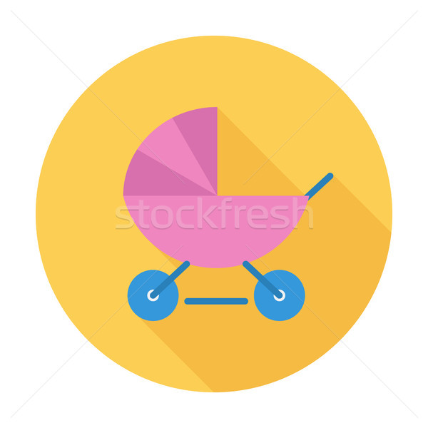 Kinderwagen icon vector lang schaduw web Stockfoto © smoki