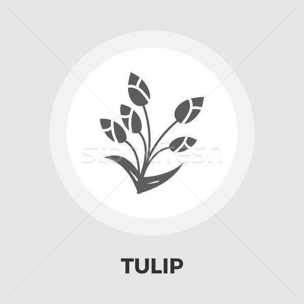 Stockfoto: Tulp · icon · vector · geïsoleerd · witte