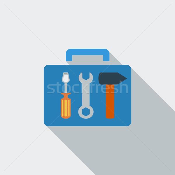 Szerszámosláda ikon vektor hosszú árnyék háló Stock fotó © smoki