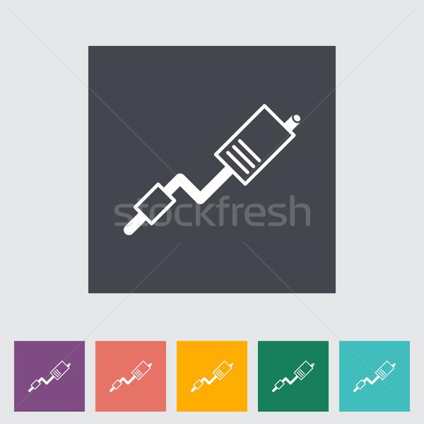 Exhaust pipe flat single icon. Stock photo © smoki