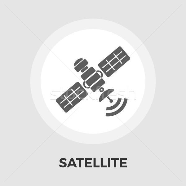 Foto stock: Satélite · ícone · vetor · isolado · branco