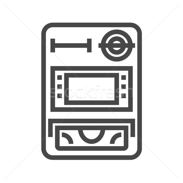 Atm vecteur icône léger ligne isolé Photo stock © smoki