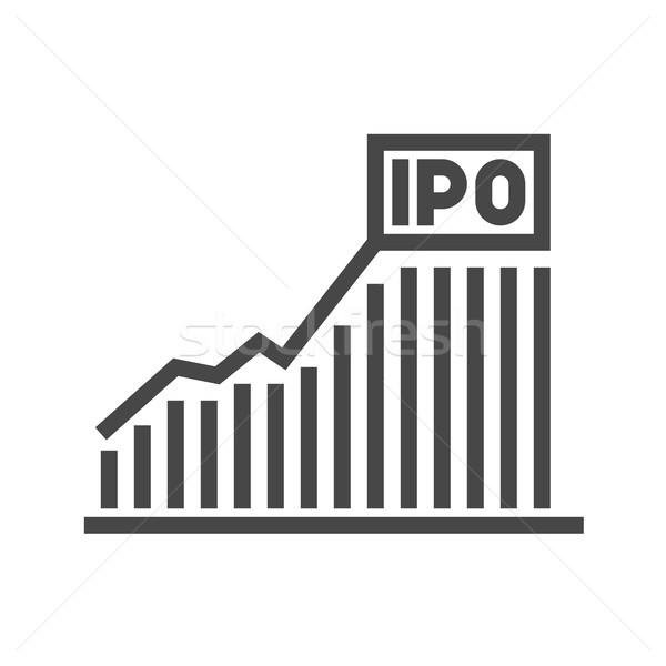 Oszlopdiagram vektor ikon vékony vonal izolált Stock fotó © smoki