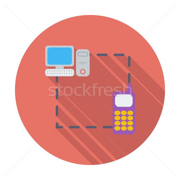 Phone sync single flat icon. Stock photo © smoki