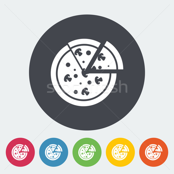 Pizza Ikon Daire Restoran Peynir Boyama Vektör