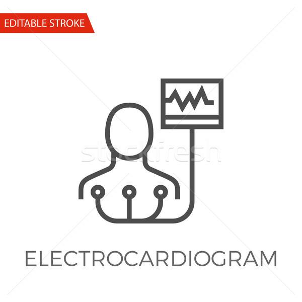 Elektrocardiogram vector icon dun lijn geïsoleerd Stockfoto © smoki