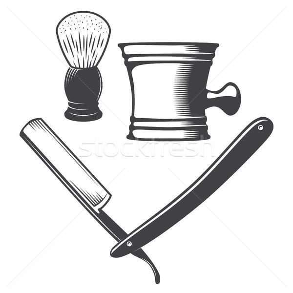 Mok borstel scheermes geïsoleerd witte vector Stockfoto © smoki