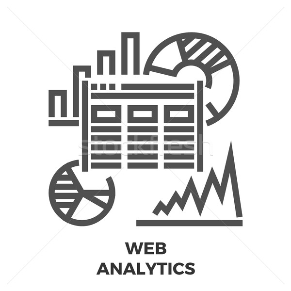 Web analytics lijn icon dun vector Stockfoto © smoki