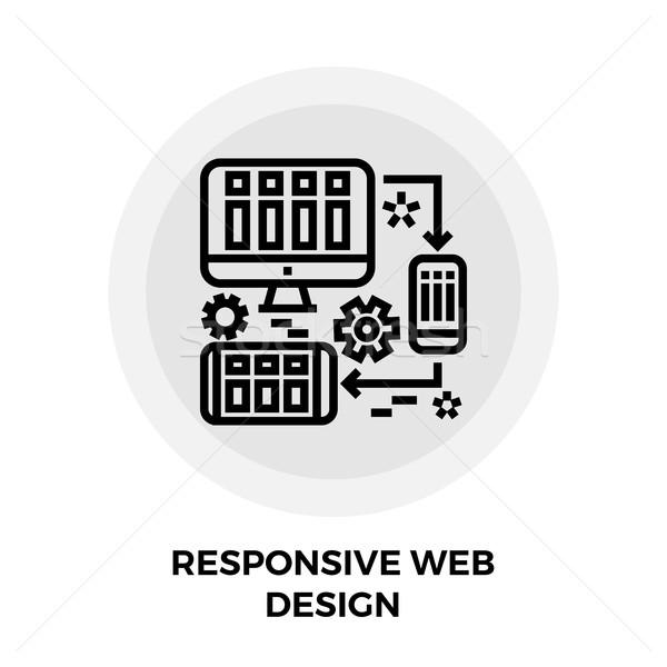 Reszponzív web design vonal ikon vektor izolált Stock fotó © smoki