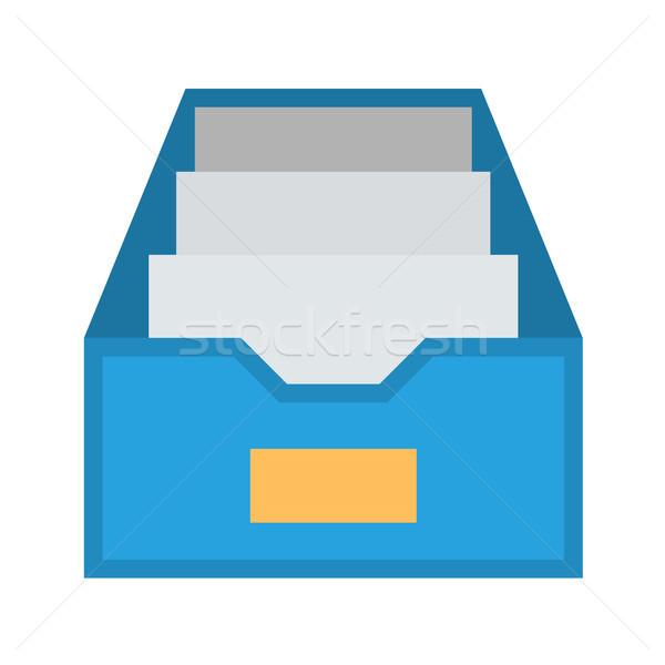 Akta faliszekrény vektor ikon izolált fehér Stock fotó © smoki