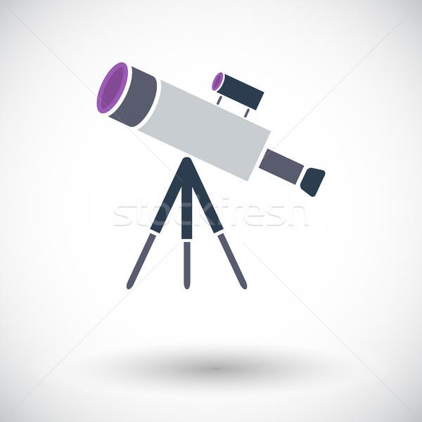 Teleskop ikon beyaz teknoloji yeşil mavi Stok fotoğraf © smoki