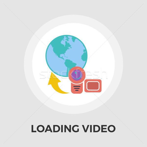 アップロード ビデオ アイコン ベクトル 孤立した 白 ストックフォト © smoki