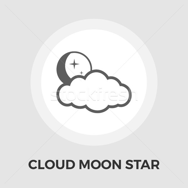 Cloud, moon, star Vector Flat Icon Stock photo © smoki
