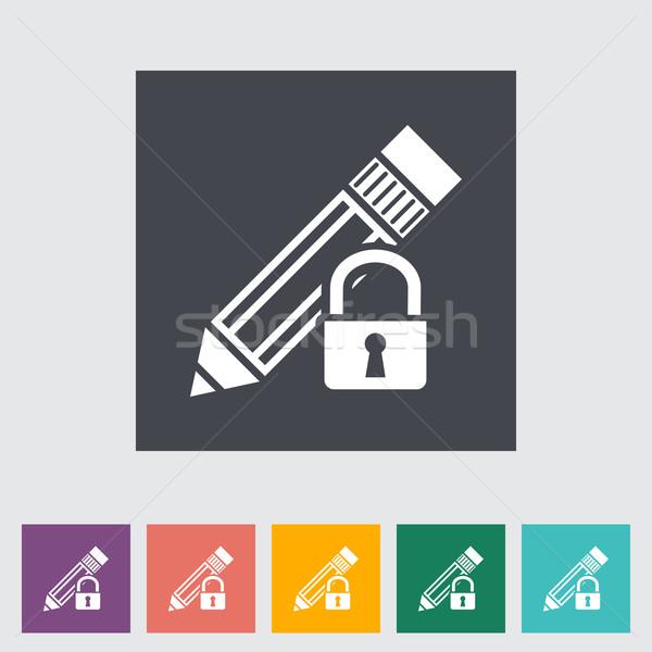 Lock for editing single flat icon. Stock photo © smoki
