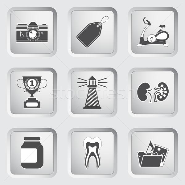 Icons on the buttons for Web Design. Set 9 Stock photo © smoki
