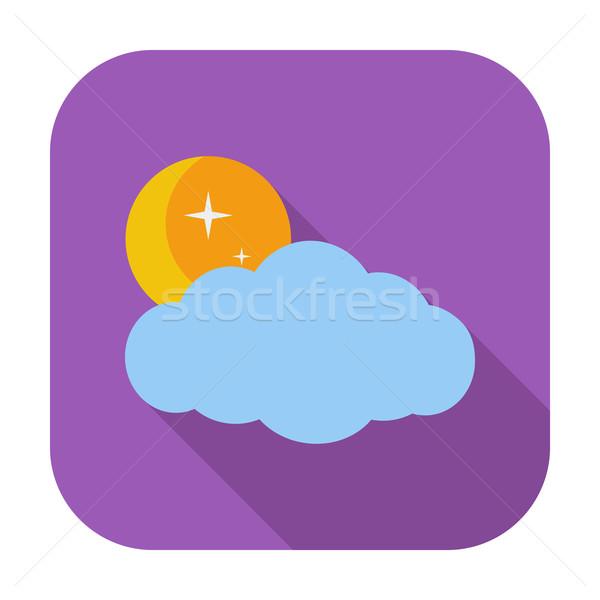 Weer icon maan sterren wolken hemel Stockfoto © smoki