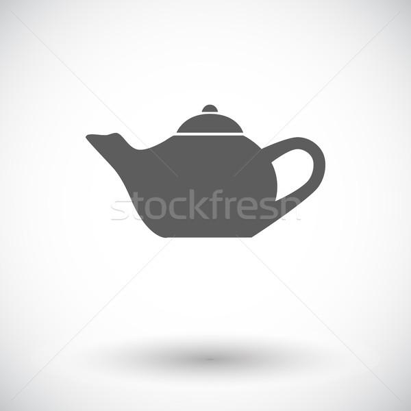 Bogrács ikon fehér ital szolgáltatás sziluett Stock fotó © smoki
