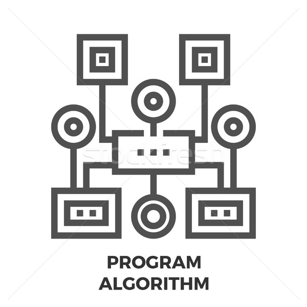 プログラム アルゴリズム 行 アイコン 薄い ベクトル ストックフォト © smoki