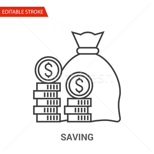 Saving Icon. Thin Line Vector Illustration Stock photo © smoki