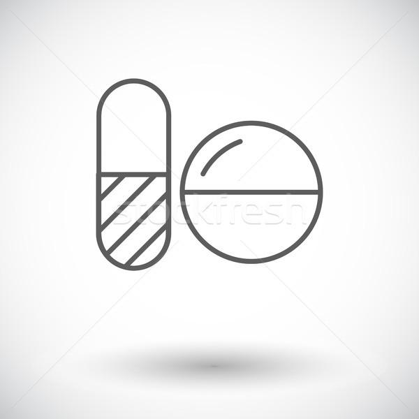 Fogamzásgátló tabletták ikon fehér orvosi terv Stock fotó © smoki