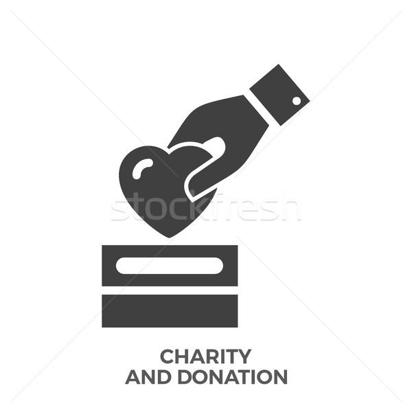 Jótékonyság adomány vektor ikon izolált fehér Stock fotó © smoki