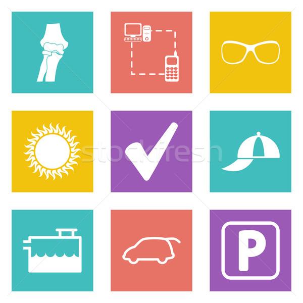 Ikonok web design szett 13 mobil applikációk Stock fotó © smoki