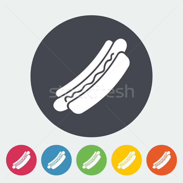 Hot dog icône cercle alimentaire design signe Photo stock © smoki