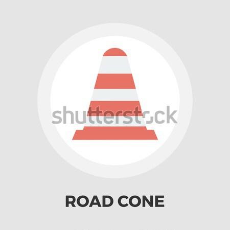 Road Cone icon flat Stock photo © smoki