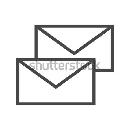 Mail massage dun lijn vector icon Stockfoto © smoki