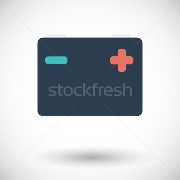 Baterii ikona biały projektu technologii metal Zdjęcia stock © smoki